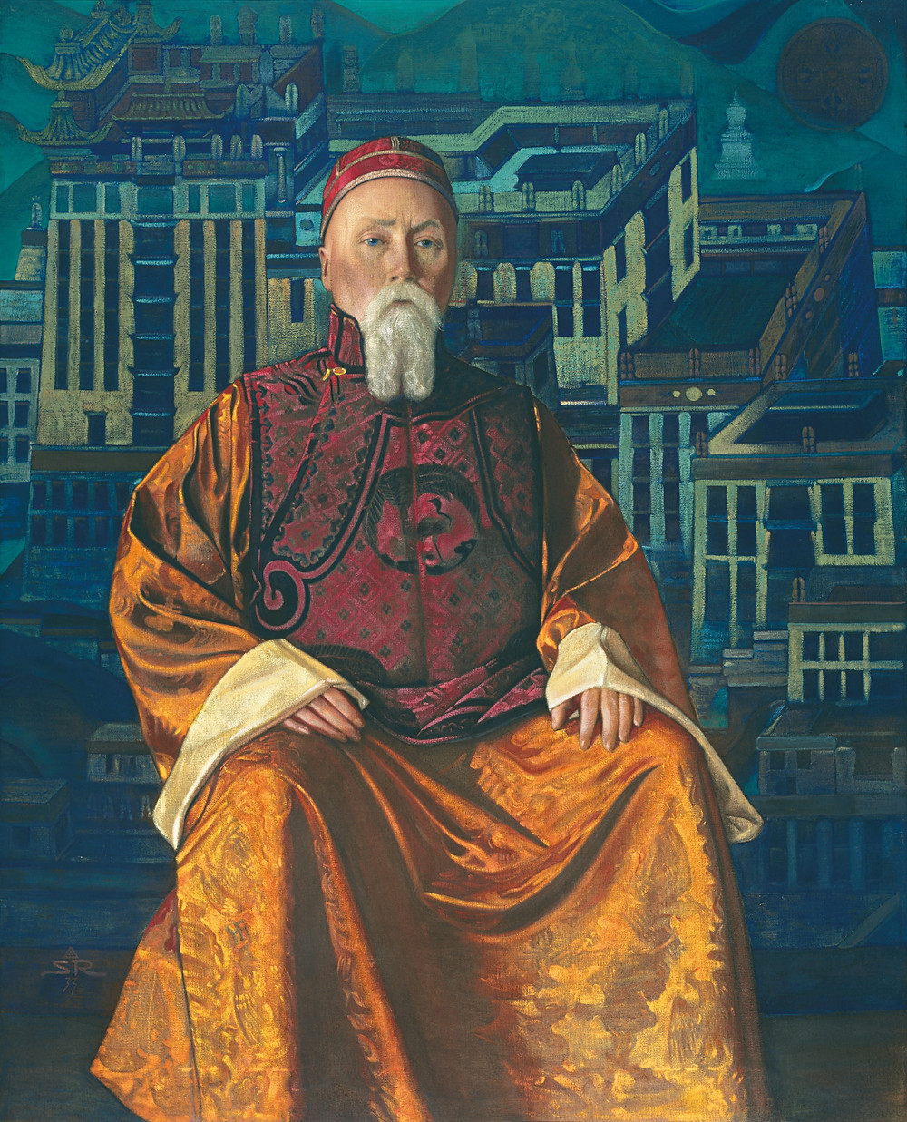 Portrait of the artists Nicholas Roerich in a Tibetan Robe, painted by his son, Svetoslav Roerich in 1933.