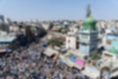 Thousands of Muslim traders gather at the historic Chandni Chowk area of Shivajinagar Market on Jan 21, 2020.