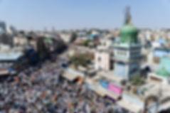 Thousands of Muslim traders gather at the historic Chandni Chowk area of Shivajinagar Market on Jan 21, 2020.