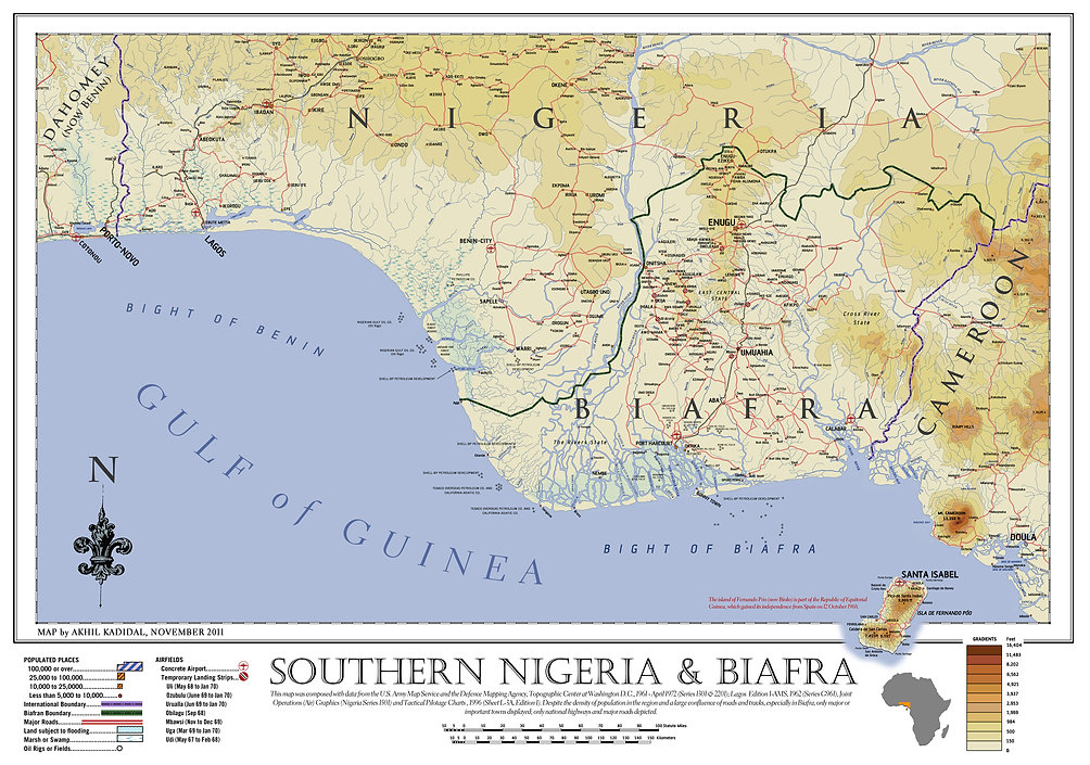 Map of Biafra in West Africa