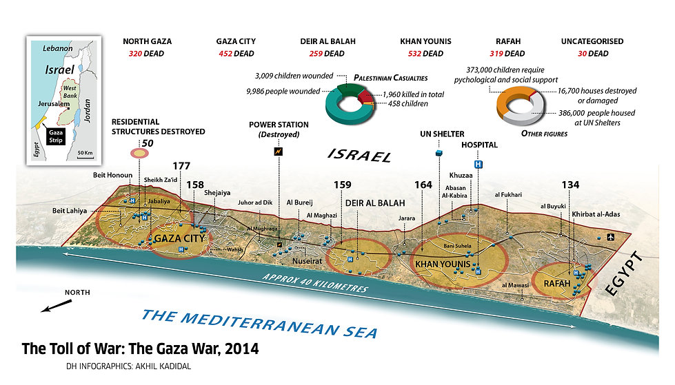 Map of the 2014 Gaza War death toll