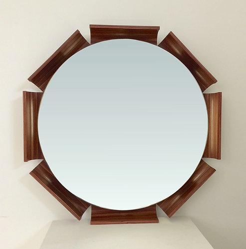 Octagon Rosewood Illuminated Mirror, circa 1960, Italy