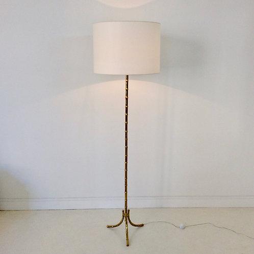 Bamboo Brass Floor Lamp, circa 1960, France.