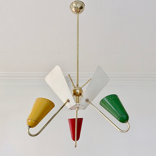 Kobis and Lorence Reflector Hanging Lamp, circa 1950, France.