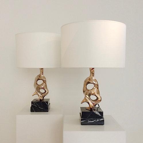 Pair of Michel Jaubert Sculptural Gold Bronze Table Lamps, circa 1975, France.