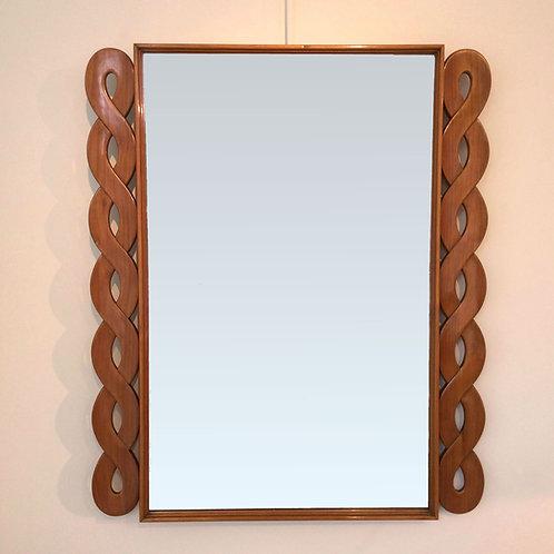 Elegant Italian Wood Mirror, circa 1950.