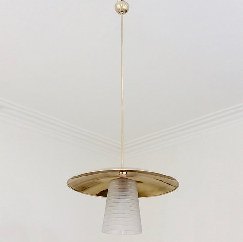 Brass and Glass Hanging Lamp, circa 1950, Italy.