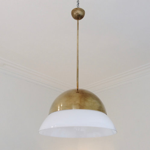 Brass and Glass Ceiling Lamp, circa 1960, Italy.