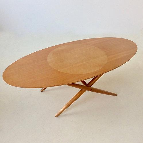 Rare Coffee Table Ovalette model by Ilmari Tapiovaara, circa 1954, Finland.