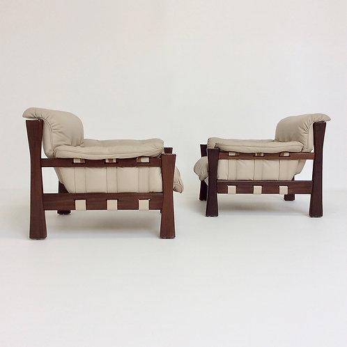 Pair of Leather Brazilian Armchairs, circa 1970