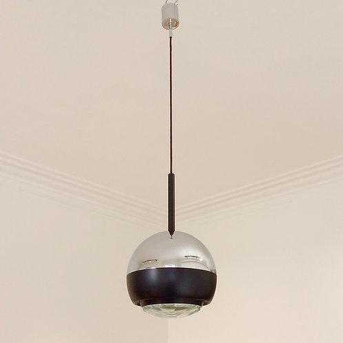 Stilnovo Glass and Metal Pendant Lamp Mod.1230, circa 1960, Italy.