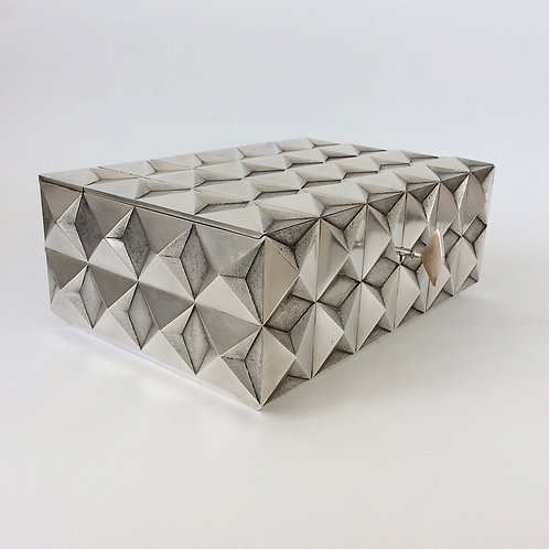 Precious Diamond Point Silver Plated Metal Box, 1970s, France.