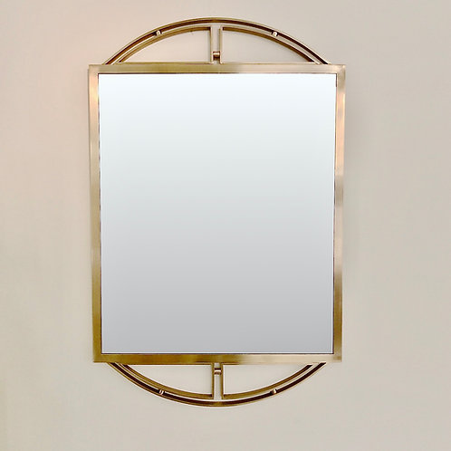 Elegant Brass Wall Mirror, circa 1970, Italy