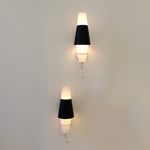 Black and White Pair of Sconces, circa 1950, France.
