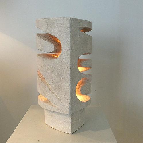 Sculptural Limestone Table Lamp, circa 1970, France.