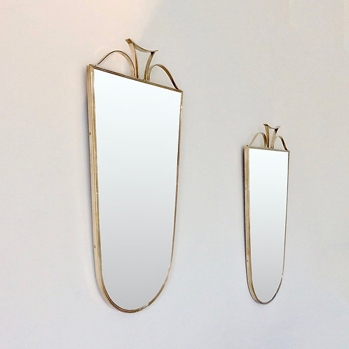Pair of Elegant Brass Wall Mirrors, circa 1950, Italy.