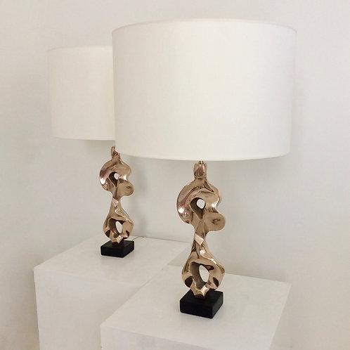 Pair of Michel Jaubert Sculptural Bronze Table Lamps, circa 1975, France.