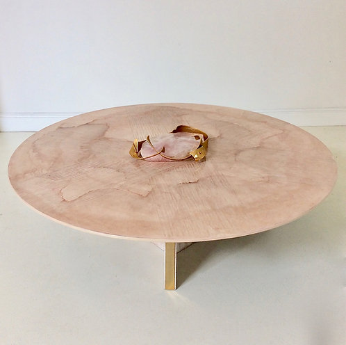 Marc D'Haenens Coffee Table With Pink Quartz, circa 1980, Belgium.
