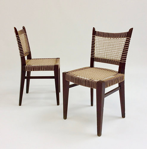 Pair of Mid-Century Straw and Wood Chairs, circa 1950, France.