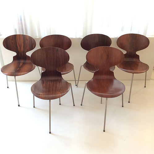 "Six First Edition ""Ant"" Jacobsen Rosewood Chairs"