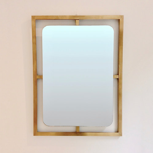 Elegant Italian Brass Wall Mirror, circa 1970.