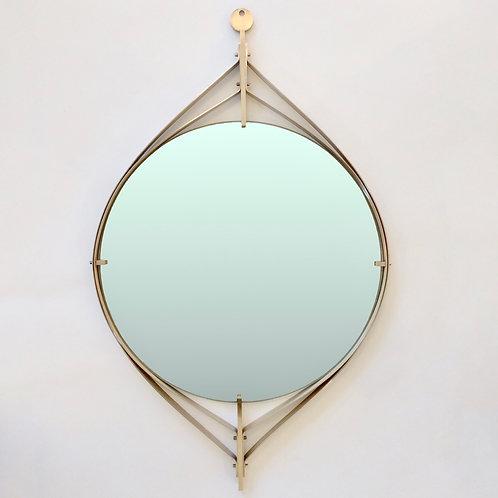 Elegant Brass Mirror, circa 1960, Italy.