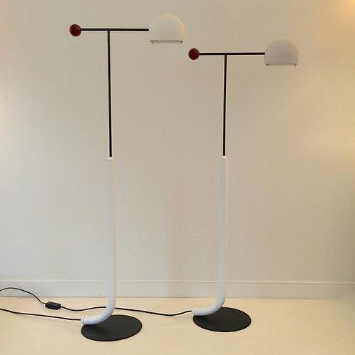 "Pair of ""Tomo"" Floor Lamps by Kita Toshiyuki for Lumi, circa 1985, Italy."