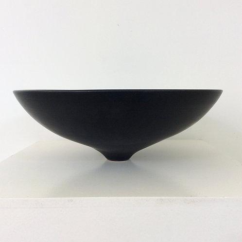 Antonio Lampecco Black Ceramic Bowl, circa 1960, Belgium.