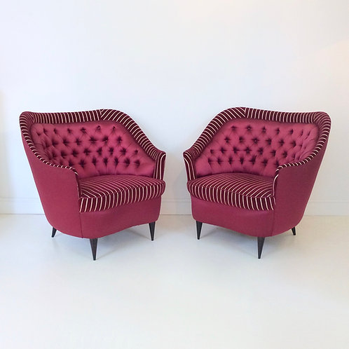Pair Of Dark Crimson Armchairs, circa 1940, Italy.
