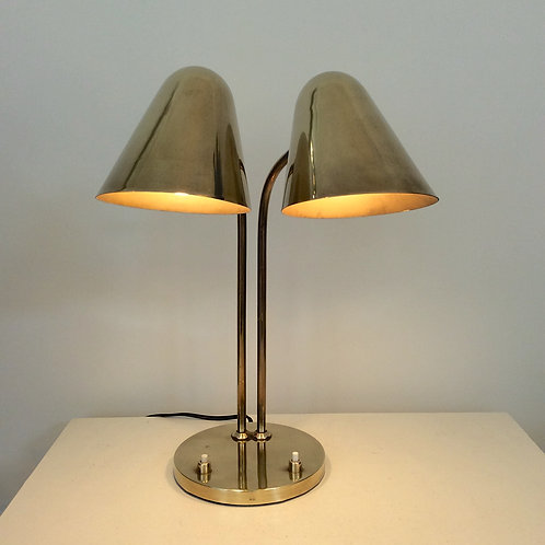 Double Shaded Brass Table Lamp by J.Biny, 1950s, France