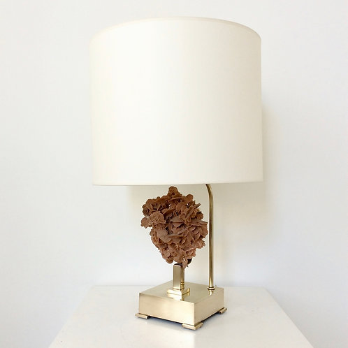Table Lamp, Desert Rose and Brass, Attributed to Willy Daro, circa 1970, Belgium