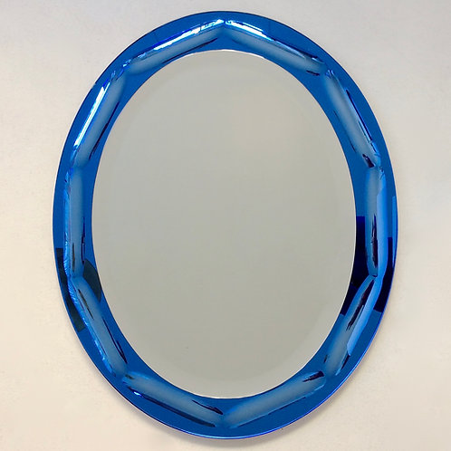 Antonio Lupi Blue Oval Mirror, circa 1960, Italy