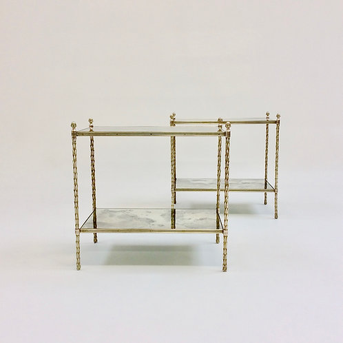 Pair of Maison Charles Bronze Side Tables, circa 1960, France.
