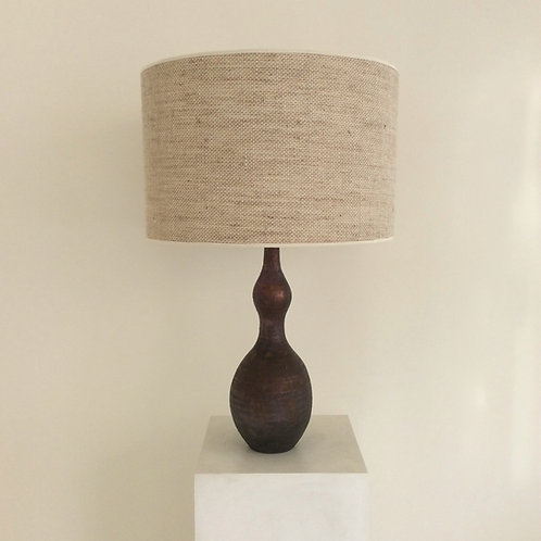 Brown Ceramic Table Lamp, circa 1960, Italy.