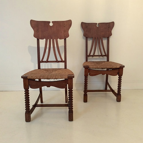 Pair of Gustave Serrurier-Bovy Chairs, Artisan Model, 1895, Belgium.