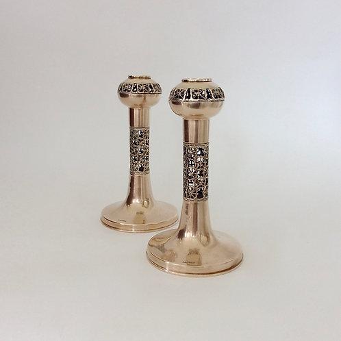 Pair of P. Sarpaneva Brass Candleholders, circa 1970, Finland.