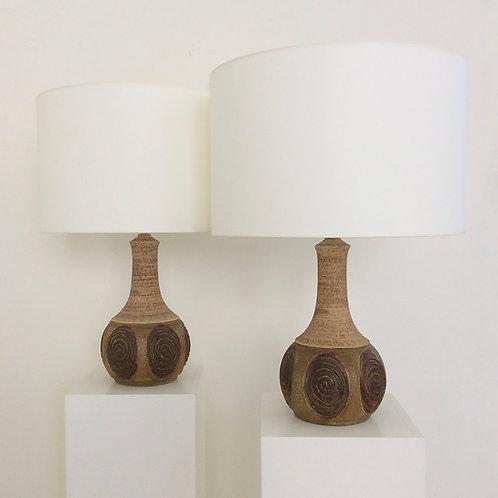 Danish pair of ceramic table lamps by Chris Aslev, circa 1960.