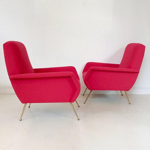 Pair of Luminous Red Armchairs, circa 1950, Italy.