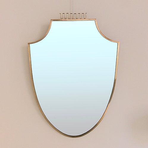 Elegant Brass Mirror, circa 1950, Italy.