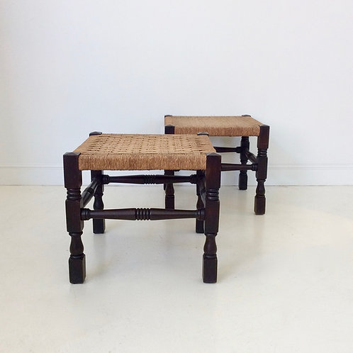 Pair of Wood and Rope Stools,early 20th century, United Kingdom.