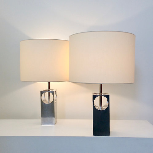 Pair of Polished Aluminium Table Lamps, circa 1970, France.