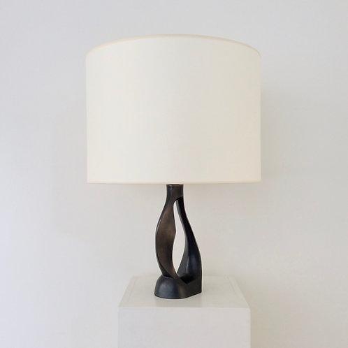 Free Form Black Ceramic Table Lamp, circa 1950, France.