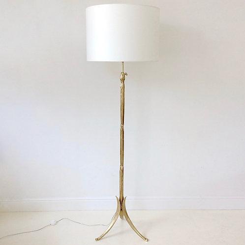 Maison Charles Gold Bronze Floor Lamp , circa 1960, France.