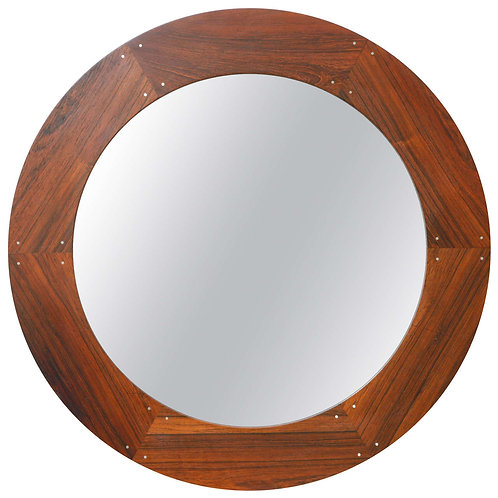 Circular Rosewood Mirror By Luxus