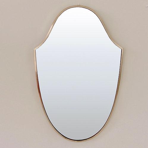 Elegant Mid-Century Italian Brass Mirror, 1950s.