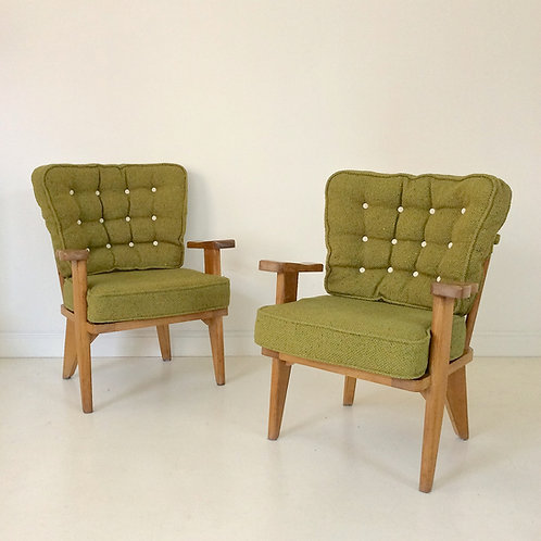 Guillerme et Chambron Pair Of Armchairs, circa 1950, France.