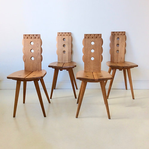 Set of 4 Oak Chairs, circa 1950, France.