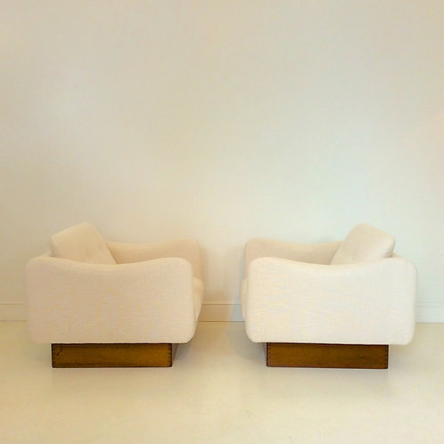 "Michel Mortier Armchairs, ""Teckel"" Model for Steiner, circa 1950, France."