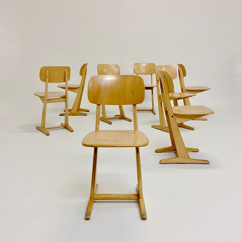 Set of 8 oak chairs by Karl Nothhelfer for Casala, circa 1960, Germany.