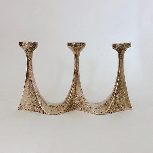 Scandinavian Brutalist Bronze Candleholder, circa 1960